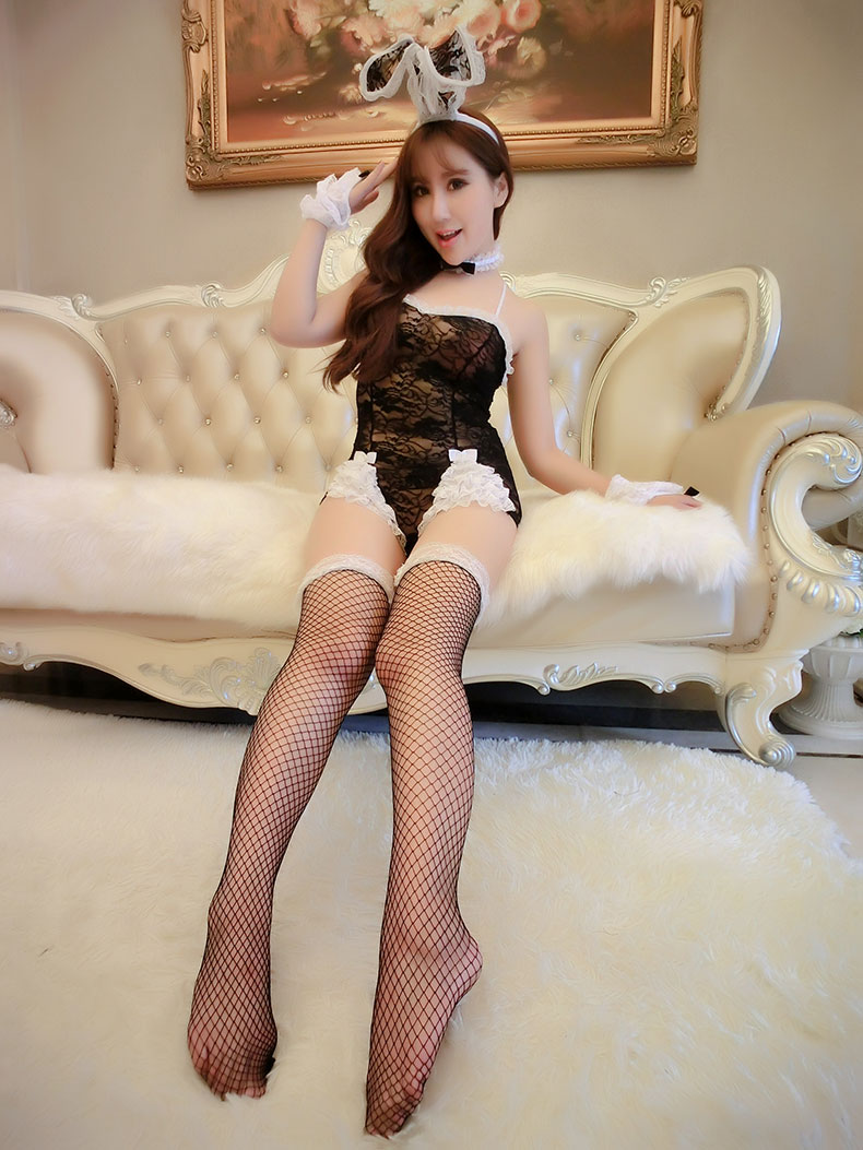 可爱角色扮演黑色透视蕾丝兔女郎猫女郎连体衣 5件套